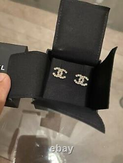 CHANEL Crystal CC Logo Earrings Rare New In Box