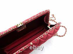 CHANEL Red Quilted Satin Box Gold Chain Clutch Crossbody Shoulder Bag New RARE