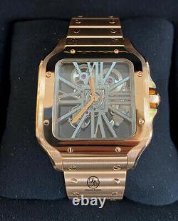 Cartier Santos Skeleton WHSA0016 18k Rose Gold Watch Box/Papers RARE UNWORN