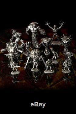Doom Reaper Miniature Pewter Figure SET 15 Piece /w Doom Box NEW Bethesda RARE
