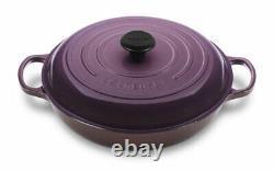 New In Box Le Creuset Cassis Purple Cast Iron Braiser 3.5 Qt Rare