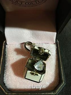 New JUICY COUTURE Jewelry Box Charm YJRU261 Charm CZ Heart Inside RARE