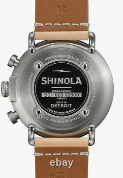 RARE NEW SWISS/US CONTRAST CHRONOGRAPH MENS SHINOLA WATCH 47mm WOOD BOX $1200