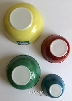 RARE UNUSED Pyrex Primary Colors Nesting Mixing Vintage Bowls Set of 4 WITH BOX