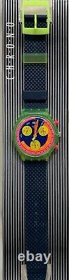 Rare Neon Swatch Originals Chrono SCJ101 Grand Prix NOS With Box And Papers 1992
