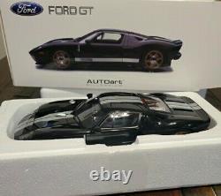 2004 Ford Gt Noir Avec Rayures Argentées 73023 118 Échelle Autoart Rare Nouveau Dans La Boîte