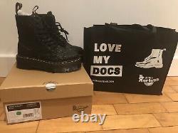 Dr Martens Jadon Uk 4 Glitter Black New In Box Platform 8 Eye Boots Zip Rare