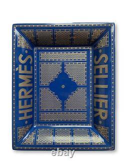 Hermès Sellier Porcelaine Changer De Plateau Bleu/or Nouveau Dans La Boîte Rare