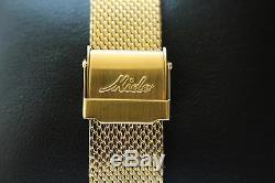 Nos Mido 8429 Commander Automatique D'or Noir Rare Datoday Regl.molette Watch & Box