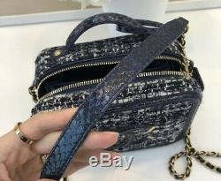 Nouveau Chanel Petit Filigrane Vanity Case Tweed Bleu Multicolor Python Rare