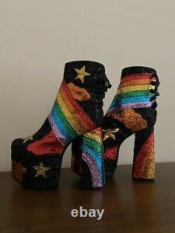 Rainbow Glitter Platform Bottes Rare Nouveau Avec Boîte