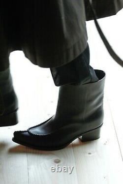 Rare! Celine Phoebe Philo Santiag Piste Bottes Noires Plates 40 9.5 10 Nouveau Etui