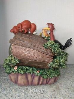 Rare Disney The Fox And The Hound Snow Globe Avec Le Pin Et Boîte Et Insert En Mousse