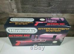 Rare Nouveau Dans Original Nintendo Entertainment System Action Set Gris Vtg