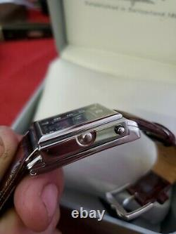Rotary Elite Reverso Dual Dial Swiss Made Box Papers Vtg Brand New! Rare! (jl)