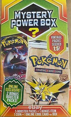 Sealed Pokemon Mystery Power Box 8 Rare Boîte Exclusive En Ligne Avec 2 Packs Bonus